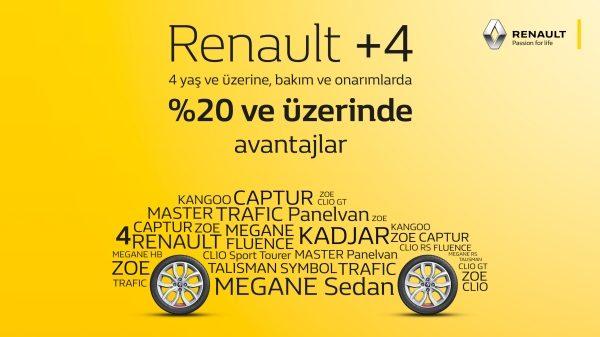 Renault +4 yaş ve üzeri araçlara bakım ve onarımlarda %20 ve üzerinde Avantajlar